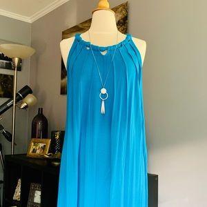 BCBG, turquoise, halter top swing/mini dress